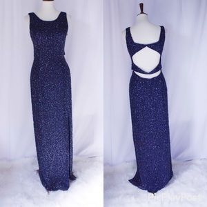 5966fd68 Sear Collection Beaded Navyblue Gown pure silk L